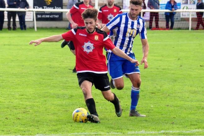 Callum Thompson, right, hit an effort from 25 yards                                                                 Picture: STEPHEN BARRETT