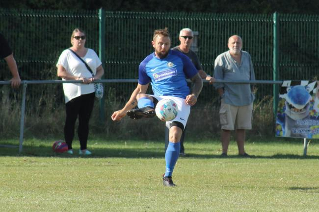 Balti striker Ricky Lane fired just over in the first half at Hamworthy Rec 		           Picture: STEVE HUNTER