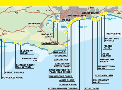 Click the names for more information  sc 1 st  Dorset Beaches & Where the beaches are