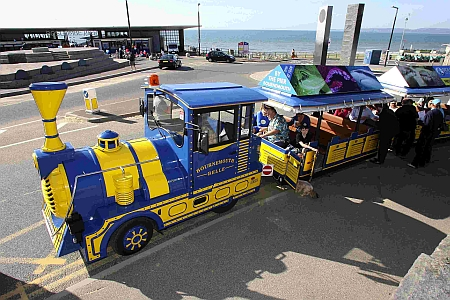 The Bournemouth Belle land train runs from Boscombe Pier to Boscombe Precinct and back