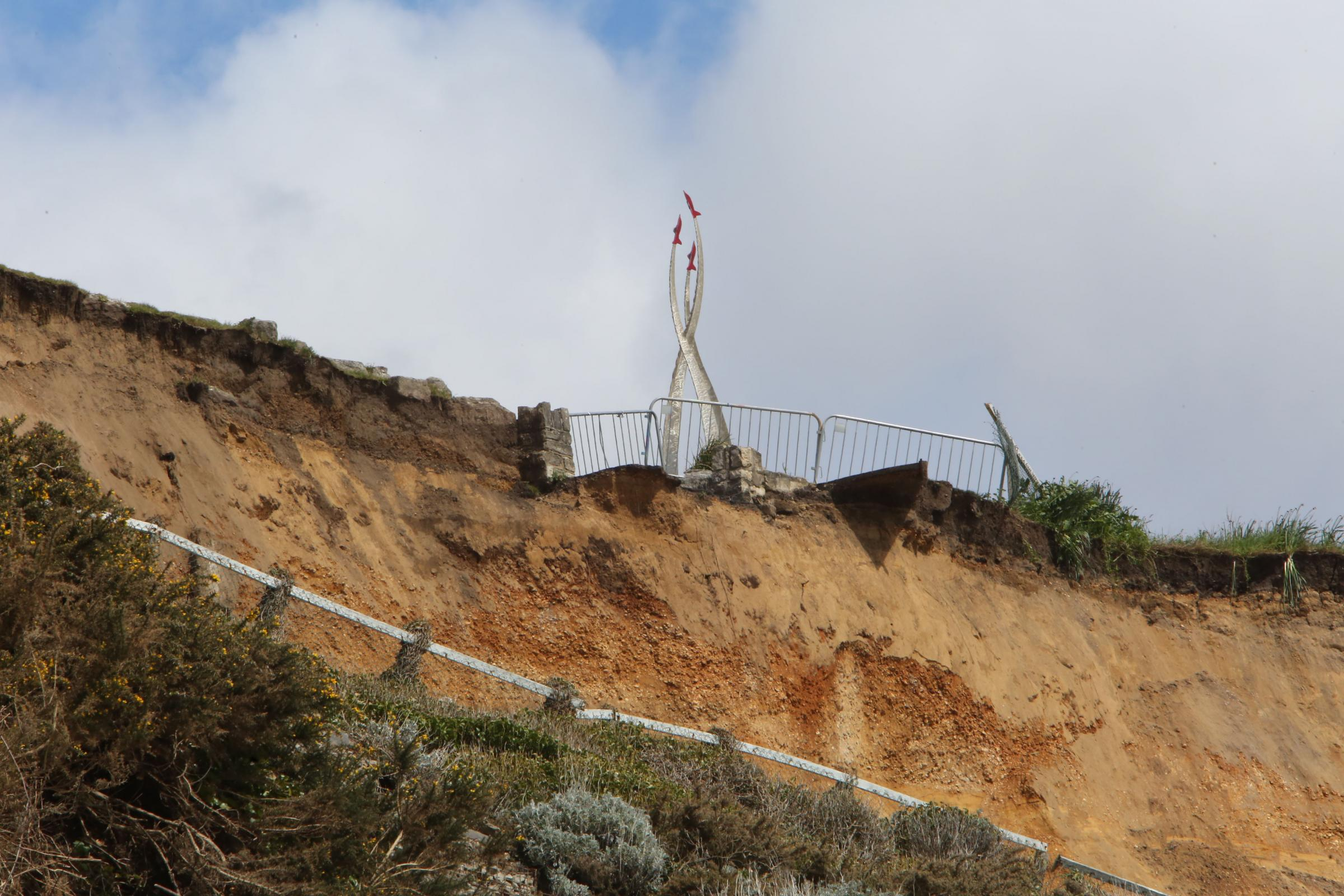 PICTURES: Clifftop to stay closed after landslip close to Jon Egging memorial