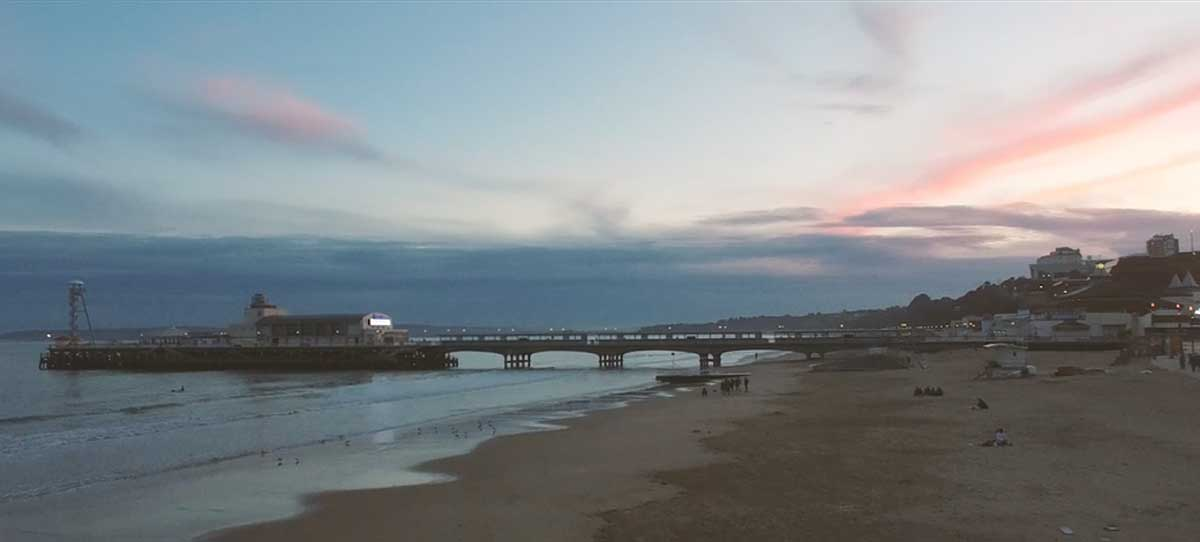 WATCH: Stunning aerial footage captures Bournemouth beach at sunset