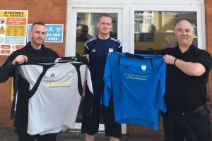 KITTED OUT: Portland Town show off their new shirts from sponsors Motatec