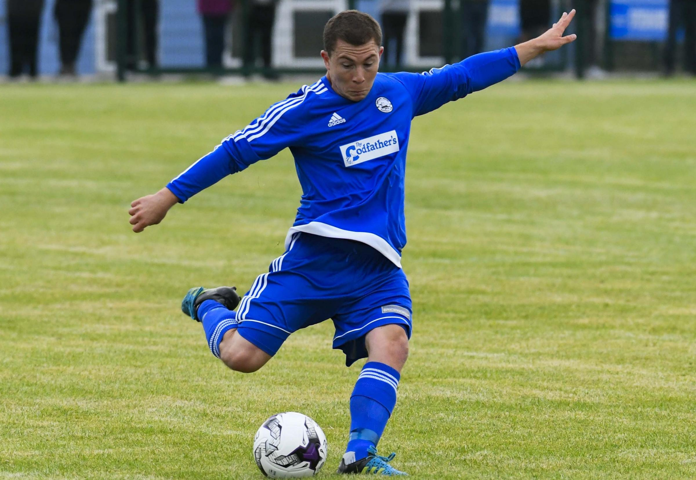 CUP BRACE: Alex Godfrey scored twice at Grove Corner                                   Picture: GRAHAM HUNT PHOTOGRAPHY