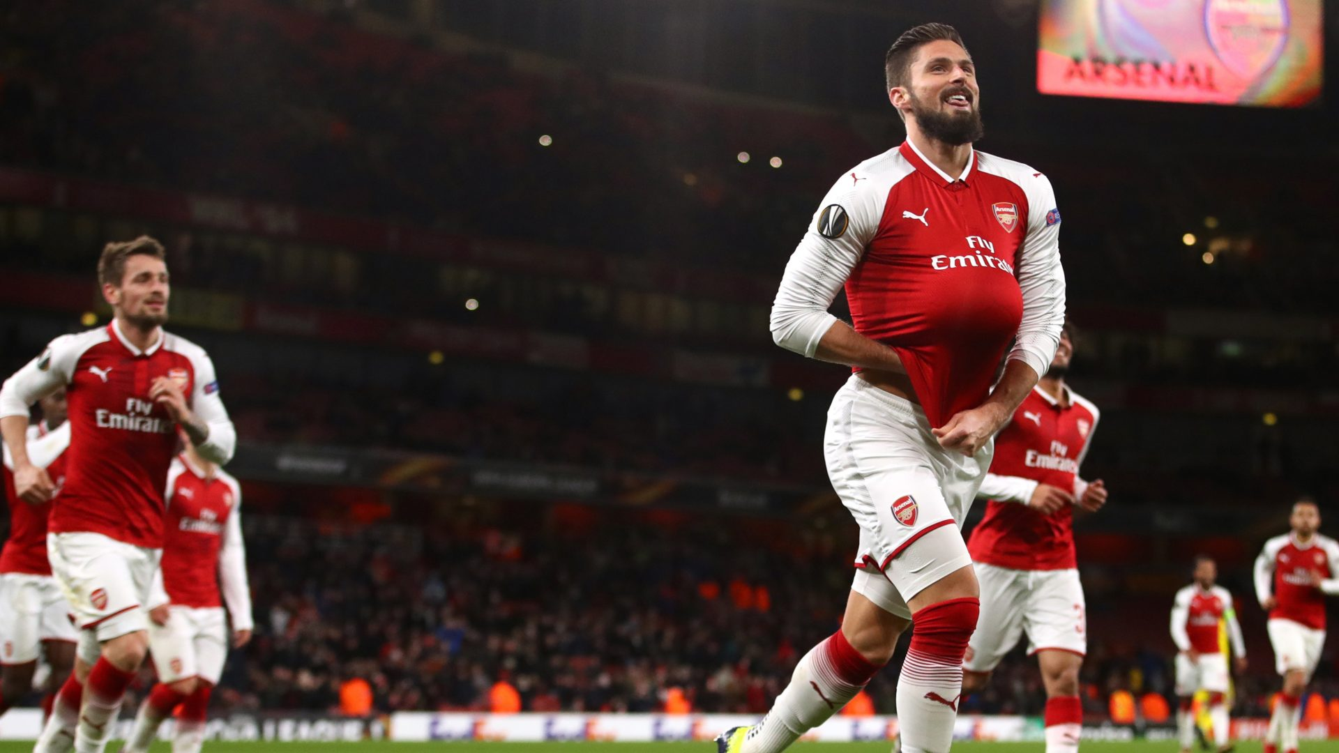 Olivier Giroud was among Arsenal's scorers as they won in the Europa League