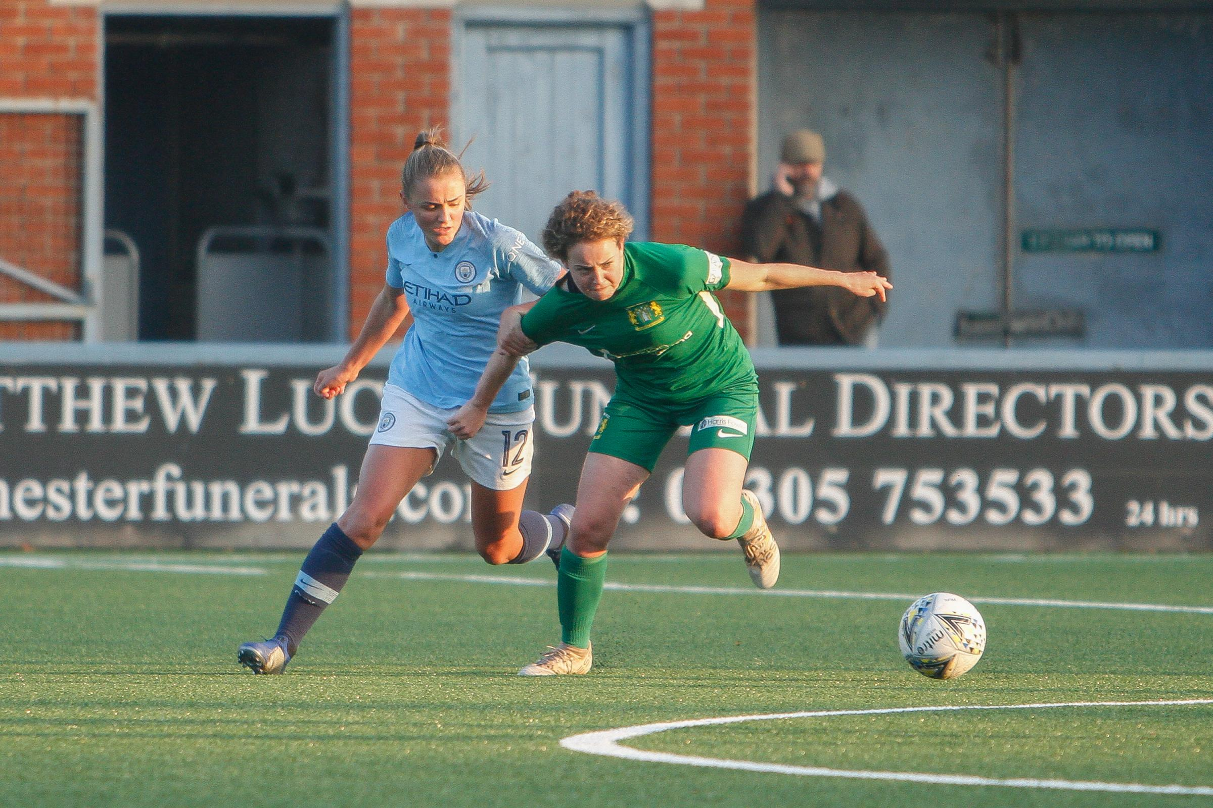 ON TARGET: Emily Syme, right, bagged her first Women's Super League goal   Picture: LEE COLLIER PHOTOGRAPHY