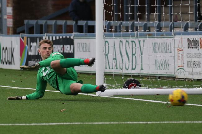 RELEGATION DESPAIR: Basingstoke's keeper Tom McGill conceded twice as a 2-1 defeat to Taunton consigned the Dragons to the drop Picture: PHIL STANDFIELD